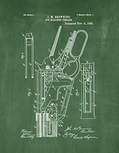 Winchester 1895 Lever Action Rifle Patent Print Green Chalkboard (8