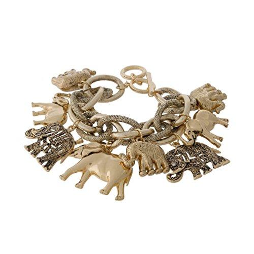 Elephant Link Statement Bangle Bracelet (Gold (Delta Elephant)