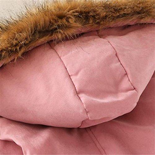 Womens Pink Coats Winter Ladies Outwear Winter Warm Fur Long Coat Wanshop® Cotton Parka Slim Jacket Collar Hooded dZRac