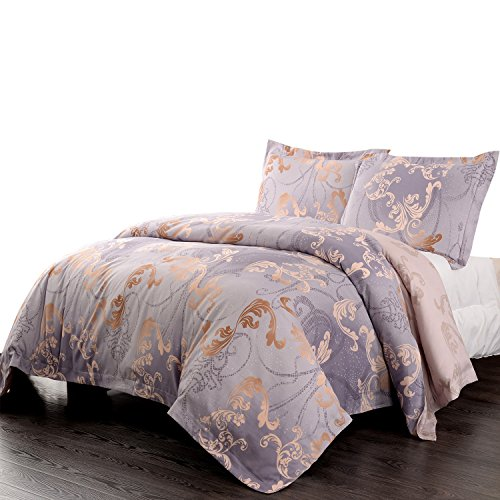 Simple&Opulence Microfiber Light Purple Floral Queen Quilt King Duvet Cover Set Including 1 Duvet Cover and 1 Pillowcase (Twin)