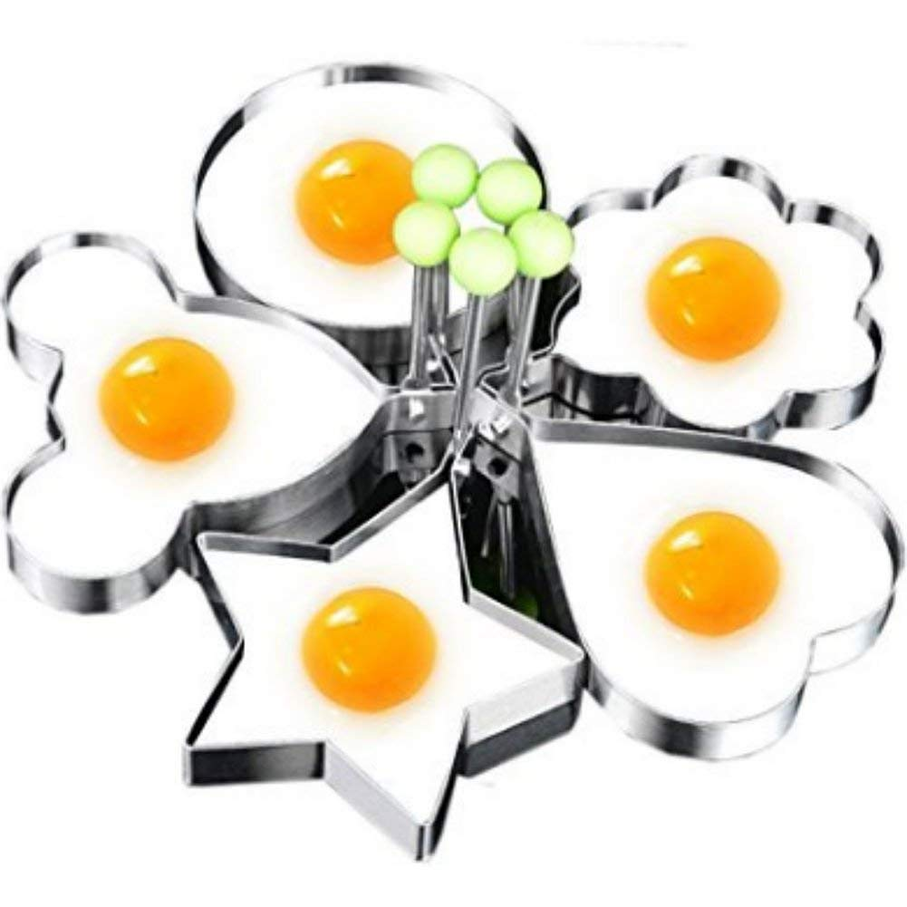 Magik 5 Pcs Fried Egg Non Stick Stainless Steel Pancake Ring Mold Cooking Kitchen Tools by Magik (Image #1)
