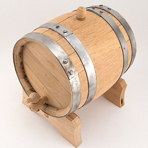 Oak Dispensing Barrel with Galvanized Steel Bands - Unfinished - 1 Gallon'