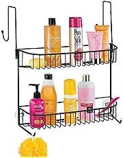 mDesign - Doucherek - voor shampoo, zeep, scheermesjes en meer - hangend/met haken en zuignappen/deurbevestiging - mat zwart