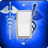 Rikki Knight 8865 Single Rocker Blue Medical Doctor Symbol Design Light Switch Plate