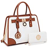 Dasein Women's Designer Handbags Padlock Belted Satchel Bags Top Handle Handbag Purse Shoulder Bag w/Matching Wallet (02-6892 Simple Color White)