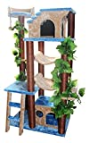 Extra Large Cat Tower with Two Hammocks Cat Tree Furniture, Blue/Beige