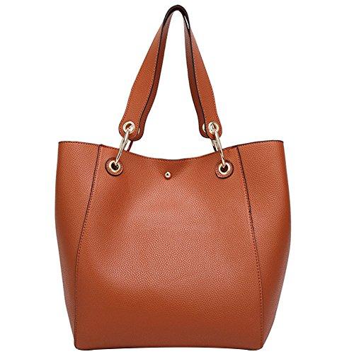 Donna Semplicemente Tote Bag Pelle Shopper Borse A Mano Borse a Tracolla Marrone