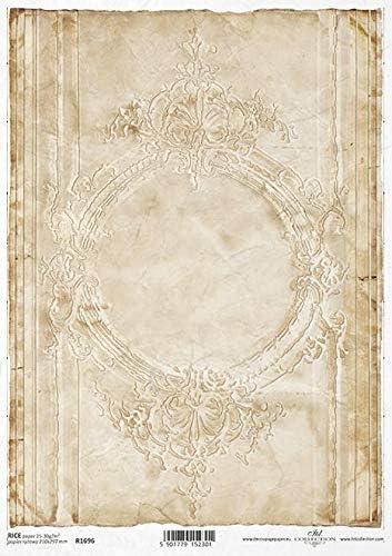 Vintage Strohseidenpapier Ornamente Reispapier Retro Ovale Rahmen A4 Dekore Motivpapier ITD Decoupage Papier R1696