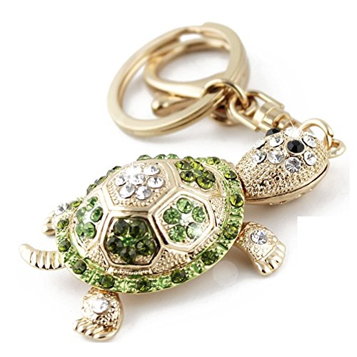 Partyfareast Rhinestone Animal Key Chain Cute Charm Bling Crystal Gift Keychain (turtle)