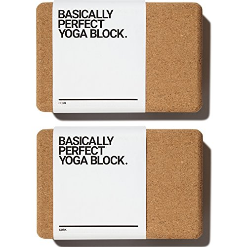 BASICALLY PERFECT [2 PC Set] Cork Yoga Blocks, Eco-Friendly, Non-Toxic, Non-Slip, Will Not Chip, 9″ x 6″ x 4″, Naturally Stays Fresh
