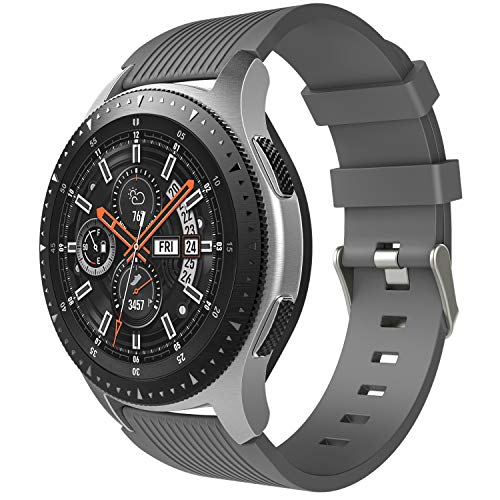 TiMOVO Band Compatible for Samsung Galaxy Watch 46mm, Soft Silicone Strap Fit Samsung Gear S3 Classic/S3 Frontier/Moto 360 2nd Gen 46mm Smart Watch - Gray