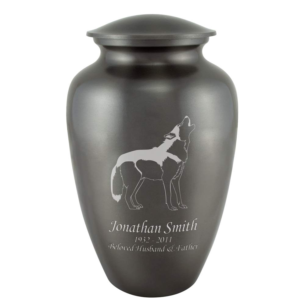Perfect Memorials Custom Engraved Wolf Classic Cremation Urn