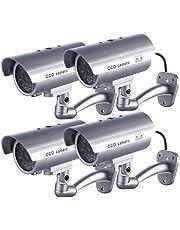 IDAODAN Nep CCD-bewakingscamera, waterdichte beveiligingscamera met knipperend rood ledlicht, zilverkleurig