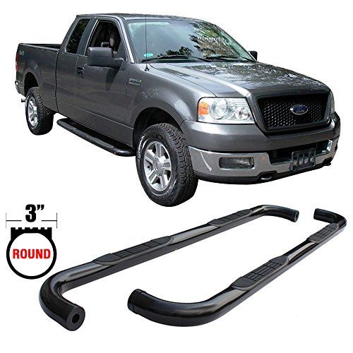 Side Step Bars Fits 2004-2008 Ford F150 | Black Powder Coat Finish T304 Stainless Steel 3 Inch Round Running Boards Nerf Bars By IKON MOTORSPORTS | 2005 2006 2007 - Nerf Bars Black Powder Coat