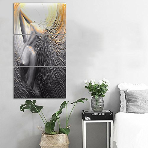3 Pieces Painting Canvas Framed Modern Wall Decor Abstract Portrait Pictures Blakc and White Impression Figure Artwork for Living Room Bedroom Vintage Home Decor Giclee Ready to Hang(24''Wx48''H) -