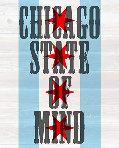 Chicago State of Mind flag and wood background 8 x 10 -