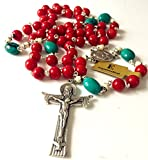 elegantmedical Handmade Turquoise and Red Coral and Oxen Bone Rosary Beads Cross Necklace Catholic Gifts
