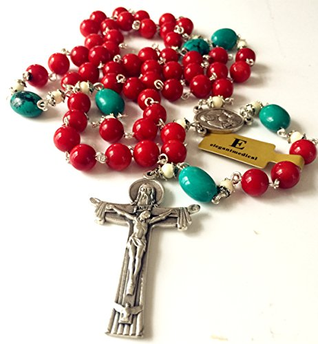Tibet Silver Coral Bead - Handmade Turquoise and Red Coral and Oxen Bone Rosary Beads Cross Necklace Catholic Gifts
