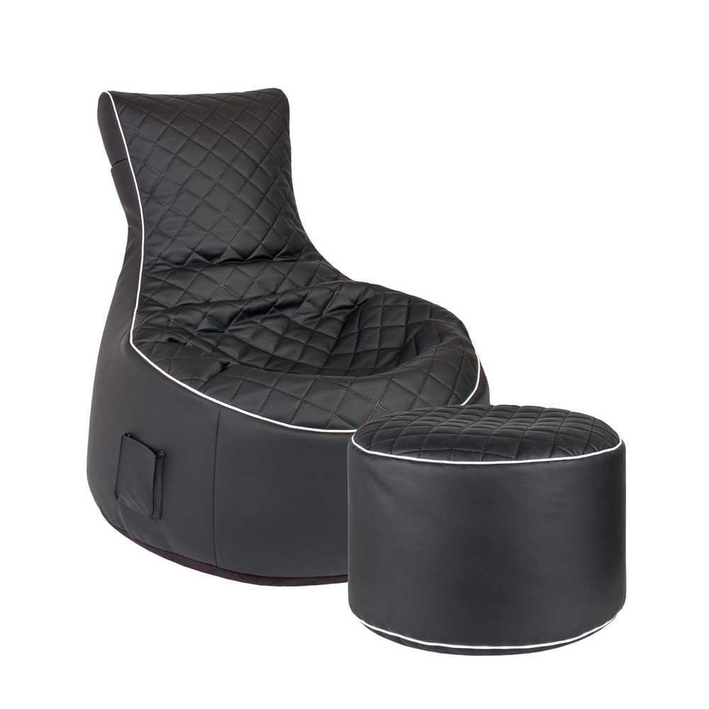 Pharao24 Sessel Sitzsack in Schwarz Kunstleder Hocker Tiefe 140 cm mit Fußhocker Ja
