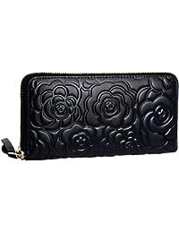 Womens Leather Wallets Long Zippered Around Handbag Card Case Holder Money Clip Wallet
