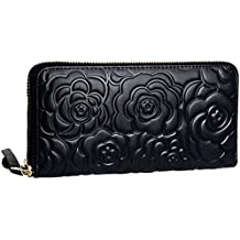 Heshe Womens Leather Wallets Long Zippered Around Handbag Card Case Holder Money Clip Wallet