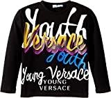 Versace Kids  Boy's Long Sleeve 'Youth' Logo Graphic T-Shirt (Toddler/Little Kids) Black/Multi T-Shirt