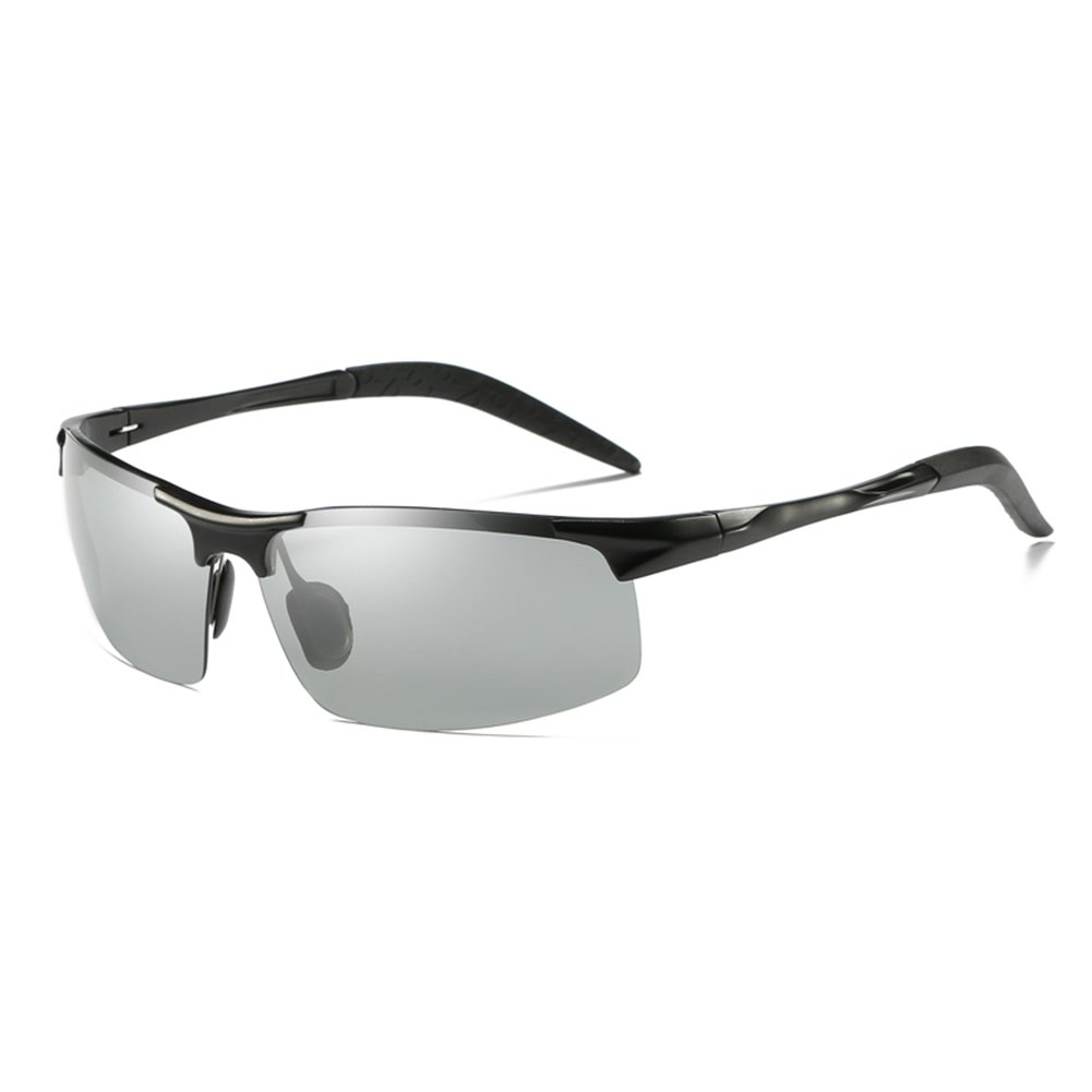 WYYY Sonnenbrillen Schutzbrillen Fahrbrille Männer Halber Rahmen Im Freien Klassisch Polarisiertes Licht Sonnenschutz Anti-UVA UV-Schutz 100% (Farbe : Grau) HFUCGk7