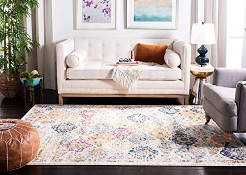 Safavieh Madison Collection MAD611B Bohemian Chic Vintage Distressed Area Rug, 8 x 10 , Cream Multi