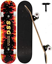 Standard Skateboards for Beginners, Complete Skateboard 31 x 7.88, 7 Layer Canadian Maple Double Kick Concave