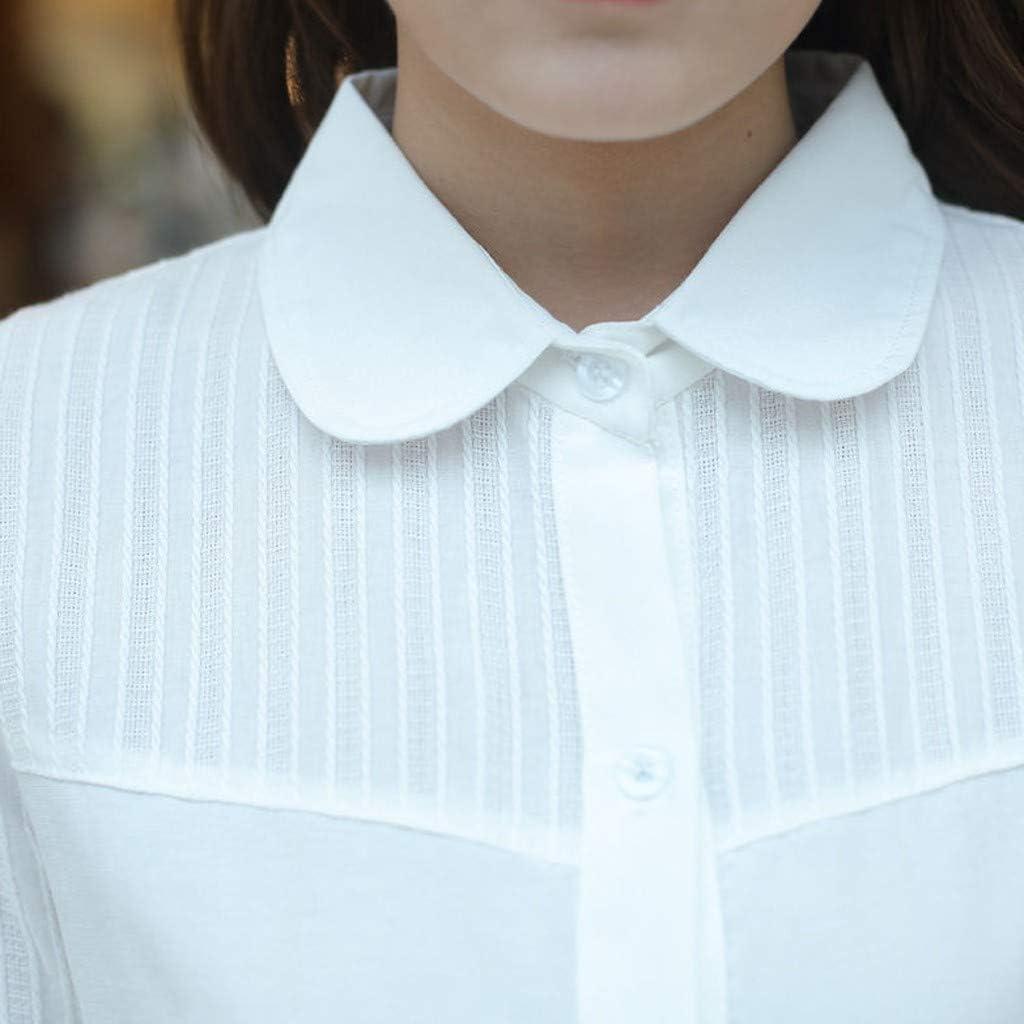 beautyjourney Camisa Slim Fit de Negocios para Mujer Camisa Casual de Manga Larga de Solapa Camiseta Suelta Blusa de Rayas de Color Liso Tops Camisa Basica: Amazon.es: Ropa y accesorios
