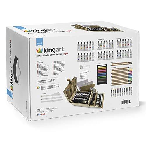 KINGART 129 Mixed Media Easel Art Kit, Set of 105, Essential Artist Tools, Hardwood Box, Silver Hinges/Clasp