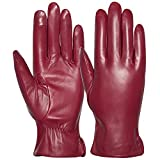 Womens Leather Gloves Winter Driving Touchscreen Texting Gloves (Burgundy, M)
