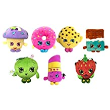 """Shopkins 6"""" Deluxe Plush Figure Set of 7 with Exclusive Mini Muffin , Kookie Cookie , Cheeky Chocolate , D'lish Donut , Lippy Lips , Strawberry Kiss & Apple Blossom"""