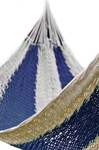Handmade Mayan Style Fair Trade Dream Hammock :: Porch, Backyard, Beach, Indoor and Outdoor Use :: Portable for Camping :: Soft Woven :: Easy Hammock Replacement (White Dark Blue)