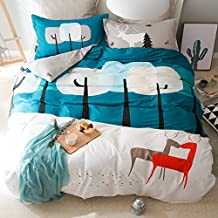 Ancaixin Twin 3 Pieces Cute Blue Moose Kids Sheet Set for Home Bedroom