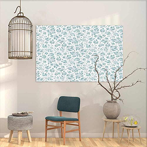 (Oncegod Sticker for Decoration Leaves Peppermint Foliage Pattern on a Dotted Background Blossoming Nature Easy Care Oil Painting Slate Blue and Bluegrey W27 xL19)