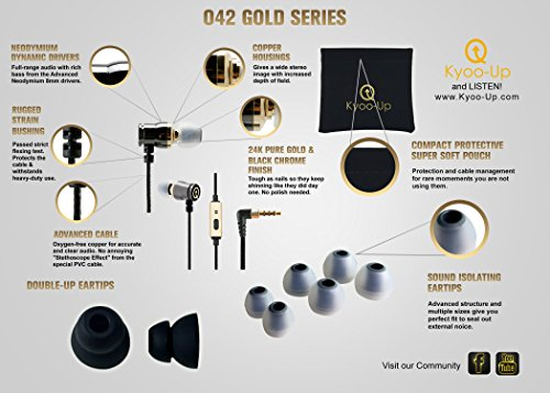 Bargain Kyoo-Up O42 In Ear Headphones, Noise Isolating Earbuds with Mic and Earphone Poutch (Black and Gold Headphones) online