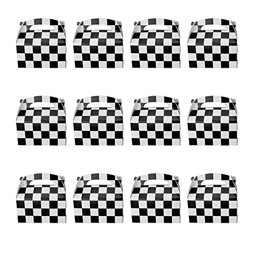 Tytroy 12 PC Checkered Racing Flag Pennant Flag Black White Treat Box Party Favor Goodie - Nascar Paper