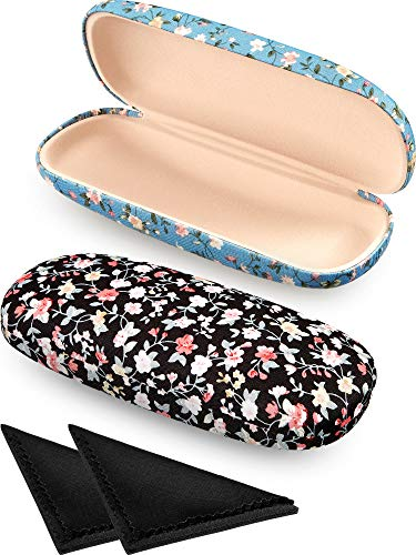 - 2 Pieces Spectacle Case Box Portable Hard Eyeglass Case Fabrics Floral Eyeglass Case Spectacles Box Case for Eyeglasses (Black, Blue)