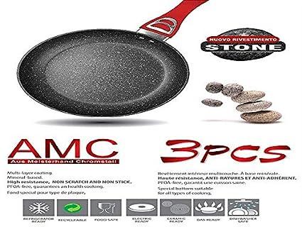AMC Juego de sartenes Rubí 3pz. de Piedra volcánica