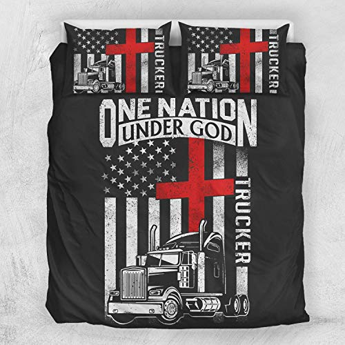 Trucker Gifts Trucker USA American Flag Duvet Cover Bedding Sets with 2 Pillowcases For Adults King Queen Full Twin California King Sizes ()