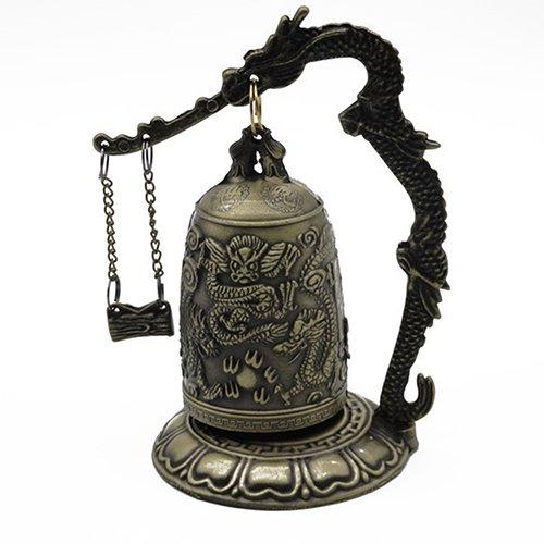 lightclub Lock Dragon Carved Buddhist Good Luck Bell Geomantic for Meditation Altar by lightclub (Image #5)