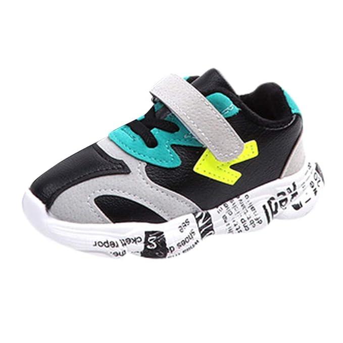 YanHoo Zapatos para niños Zapatillas de Deporte de Invierno con Letras de Flecha cálidas de Terciopelo para Niños Remiendo Flecha Carta Deporte Correr ...