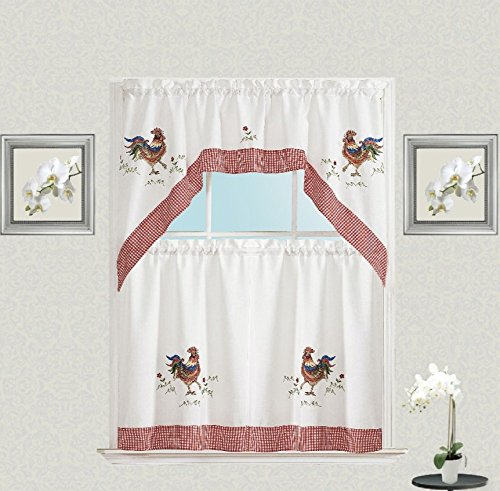 [Embroidered Rooster Charm Complete Plaid Kitchen Curtain Tier & Swag Set] (Swag Plaid Curtain)