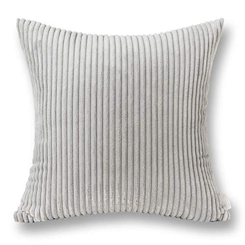 Jeanerlor Home Decoration Super Soft Corduroy with Vertical Stripes Light Grey Euro Throw Pillow Sham 26x 26 inch Cushion Cover for Holiday, 65 x 65 cm from Jeanerlor