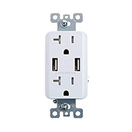 20 Amp Outlet >> Armstrong 64424 125a 125 Volt 20 Amp Outlet With Usb Ports White