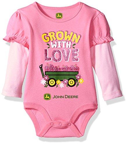 John Deere Baby Girls' Long Sleeve Bodysuit, Pink, 3-6 Months