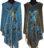 Yxjdress Women' Silk Butterfly Reversible Pashmina Shawl,Deep Skyblue,average