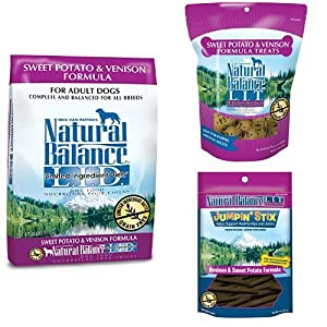 Natural Balance Limited Ingredient Diets Sweet Potato & Venison Formula - Dry Dog Food, Dog Biscuits, and Jumpin Stix Dog Treats Bundle