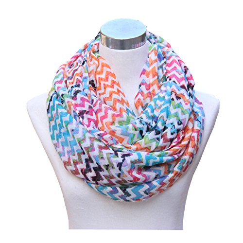 htweight Cozy Infinity Loop Scarf with Various Artist Print (Zig Zag Colorful) (Infiniti Scarf)